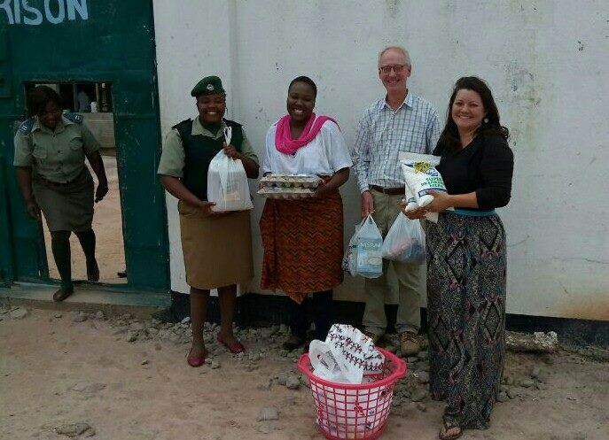 Chris and our volunteers delivering child-friendly food donations to babies in Kabwe Female Correctional Facility. These little ones first few years of life are spent with their mothers who are serving sentences.