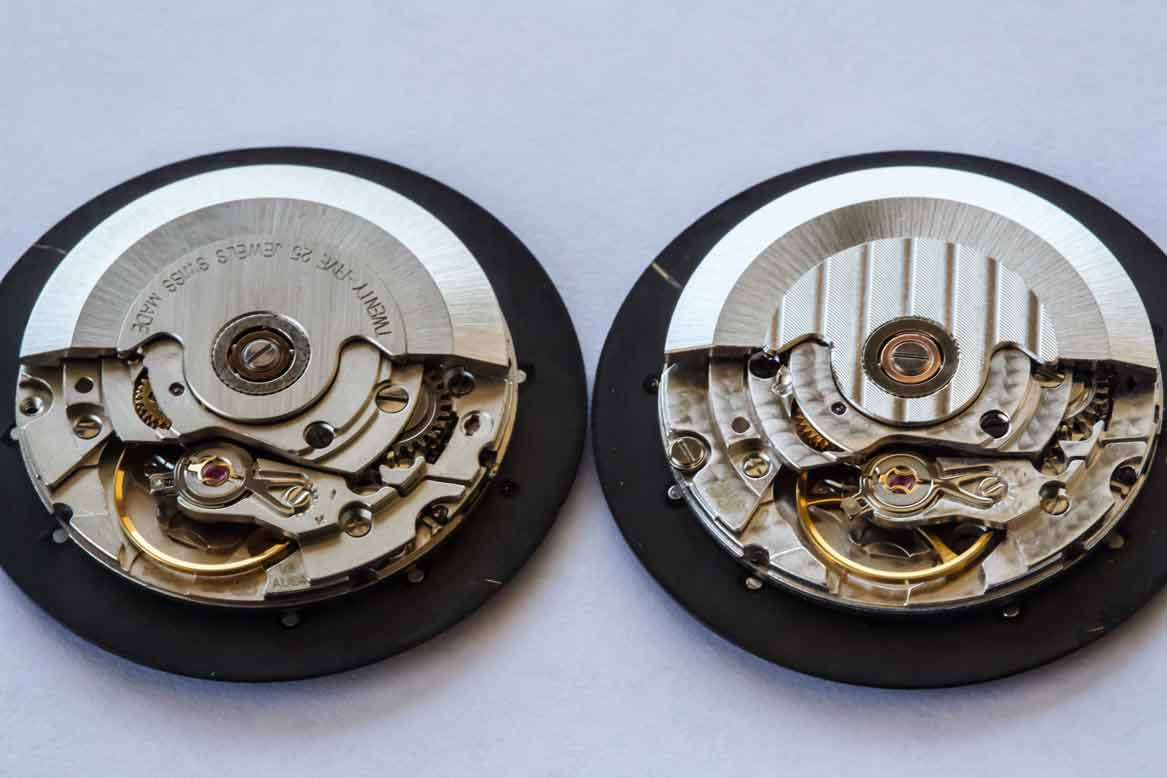 In terms of overall finishing, the standard grade ETA 2824-2 (left)pales in comparison to the STP 1-11 (right).