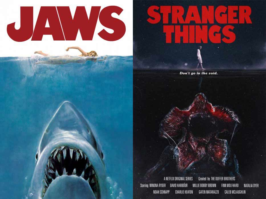 "Even with their posters,  Stranger Things  pays homage to cult classics such as Steven Speilberg's ""Jaws""."