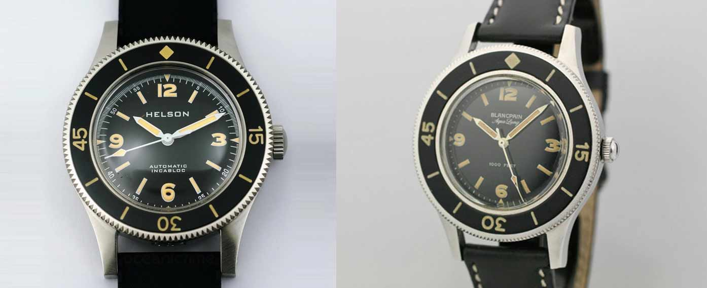 The Helson Skindiver pays homage to the Blancpain Fifty Fathoms, the first modern dive watch ever made. Photo credit: oceanictime.blogspot.com