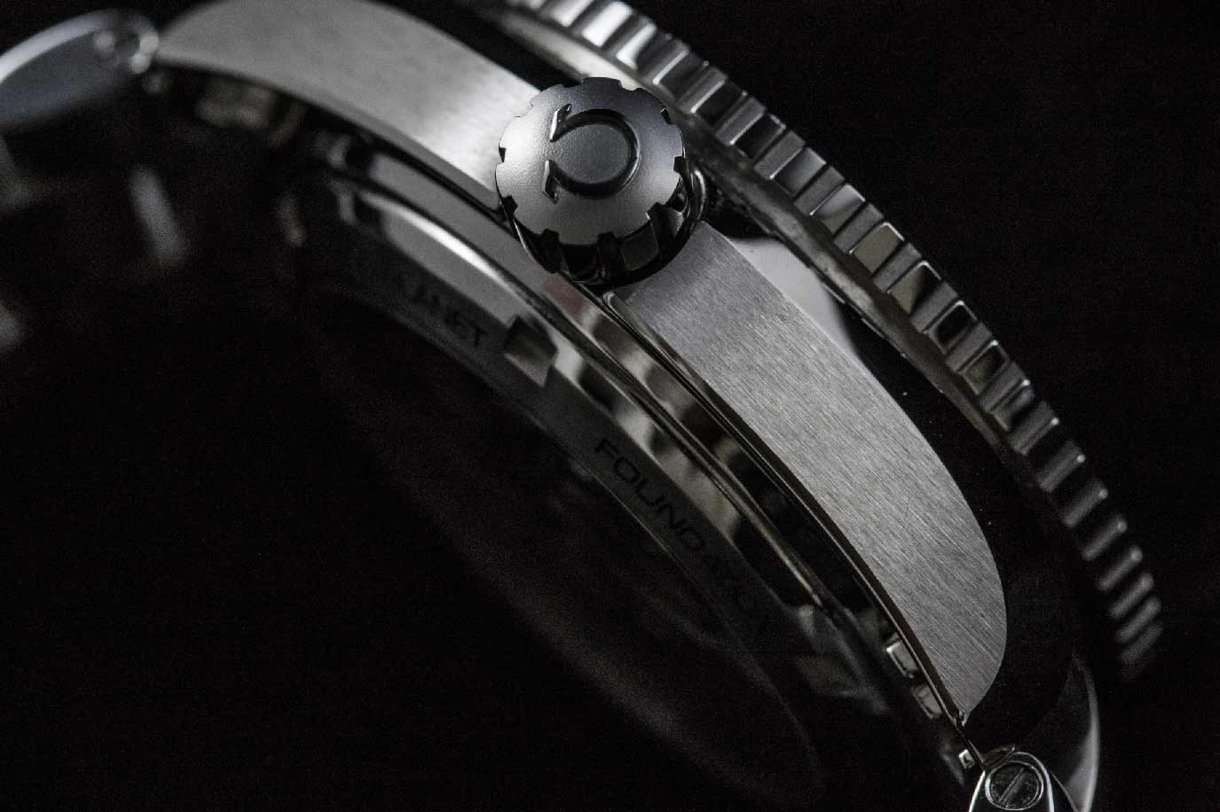 Omega's case-finishing is superb. The transitions between surfaces are sharp and clean, the brushing is fine and even, and the contrasting polished and sandblasted finish on the crown is an extremely nice touch.