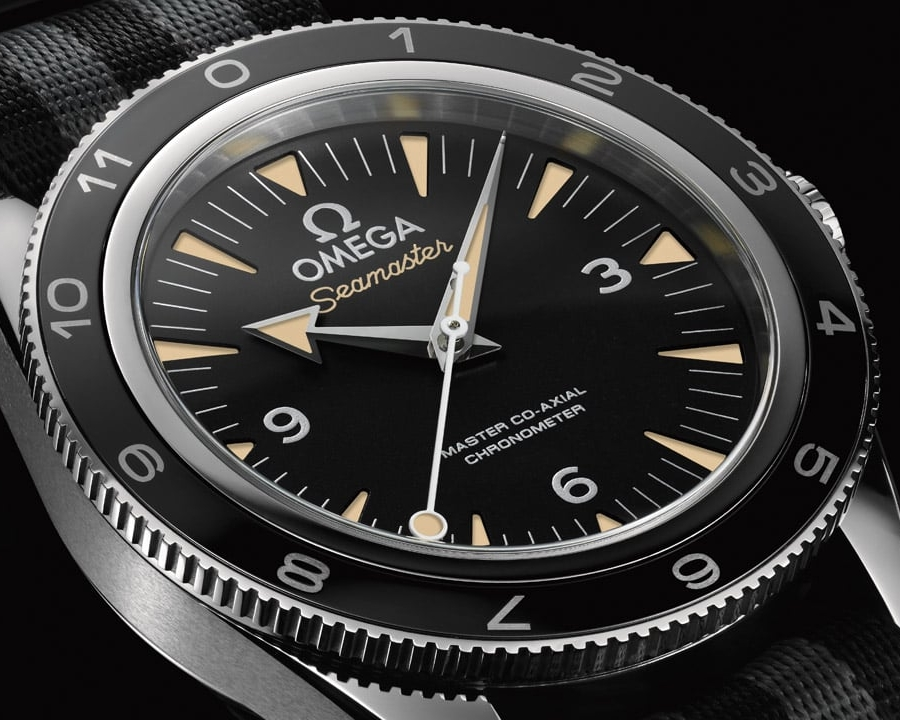 """Originally designed as a traditional diver, the Omega Seamaster 300 """"Spectre"""" edition was released as part of promotion for the film, Spectre, starring Daniel Craig.  Photo credit: omegawatches.com"""