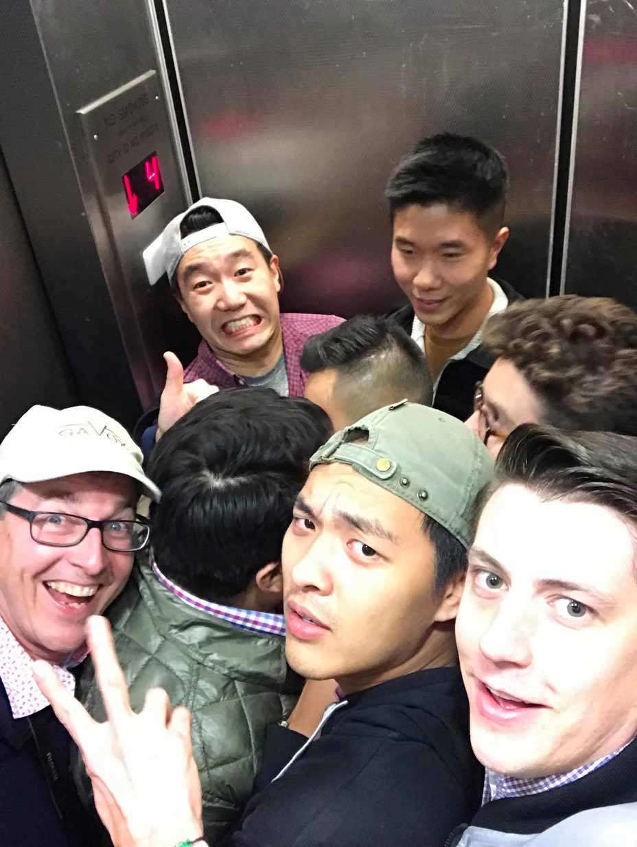 Elevator shenanigans with a bunch of watch geeks.