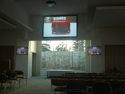 warwick funerals - full chapel av system- projection and led screens - webcasting - link to catering building