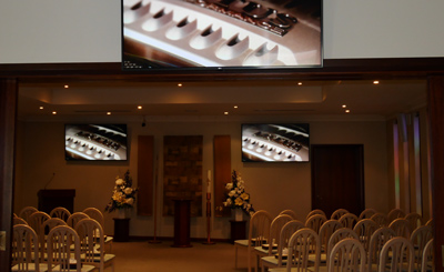 Bowra and Odea Funerals - Cannington WA - Crestron controlled av system with multiple screens, etc