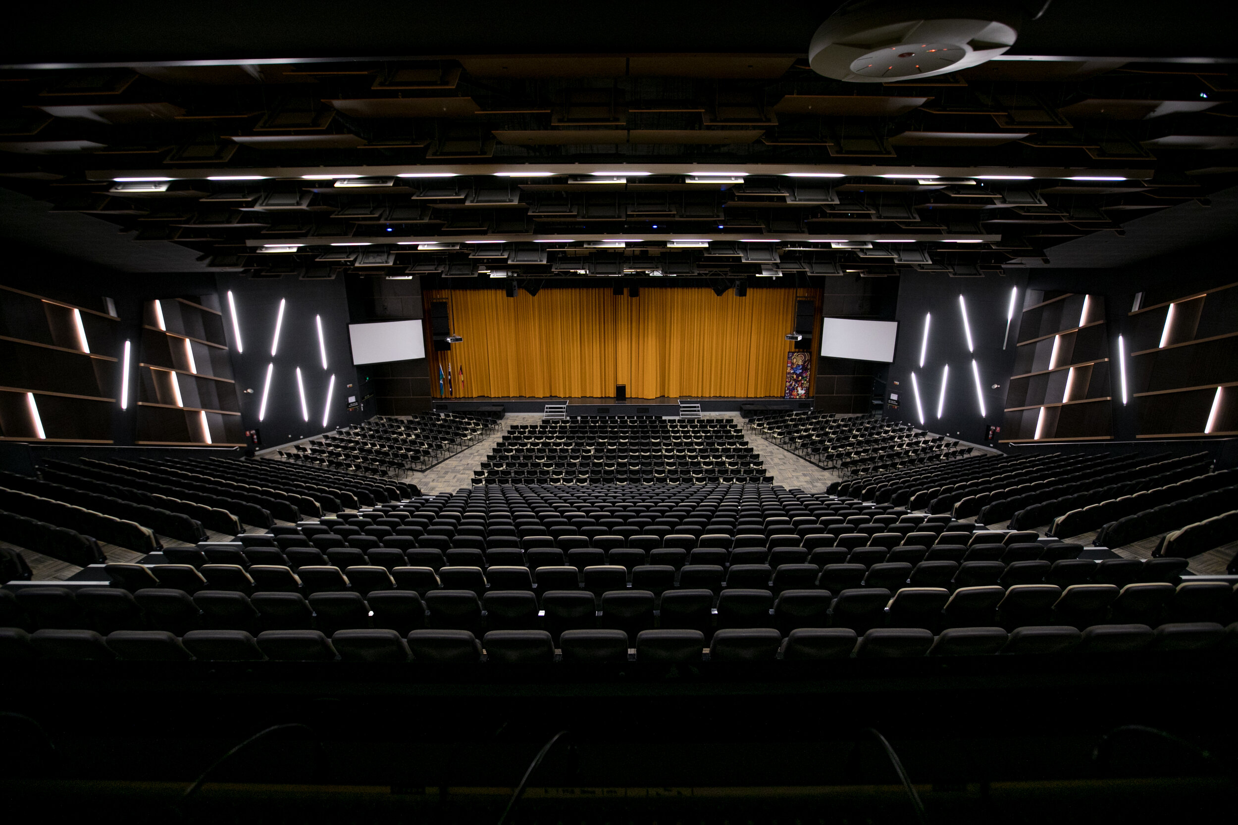 St Laurence's College - ERpac auditorium - design of project was to simplify a complex auditorium system to allow a teacher to press one button on a touch panel to operate the whole system and wirelessly connect laptop to system and projectors - see next photo