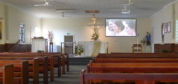 Mary Queen of peace catholic church - Margate - full av system - Yamaha TF Rack digital mixer and amplifier with ipad control - 1 pr bose double MA12ex column array speakers - panasonic laser projector with fixed screen - denon pro dvd/usb cd/usb/bluetooth and laptop media playback    The system is setup to allow unattended automixing of microphones for normal service requirements