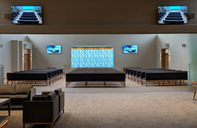 "Bowra and Odea funerals - mandurah/greenfields - WA - full crestron controlled av system with yamaha speakers - sony 75"" and 65' screens - Aja helo recording to nas and live webstreaming - speakers in several rooms and porte cochere"