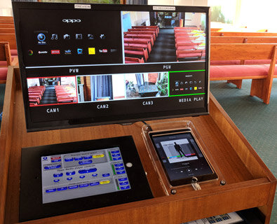centenary memorial gardens - jindalee - qld - full crestron controlled av system with multi-camera recording and live webstreaming - sony screens - jbl speakers
