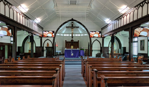 St Francis of assisi catholic church - west end - 2 x 65' and 2 x 55' TCL screens with video distro over ip