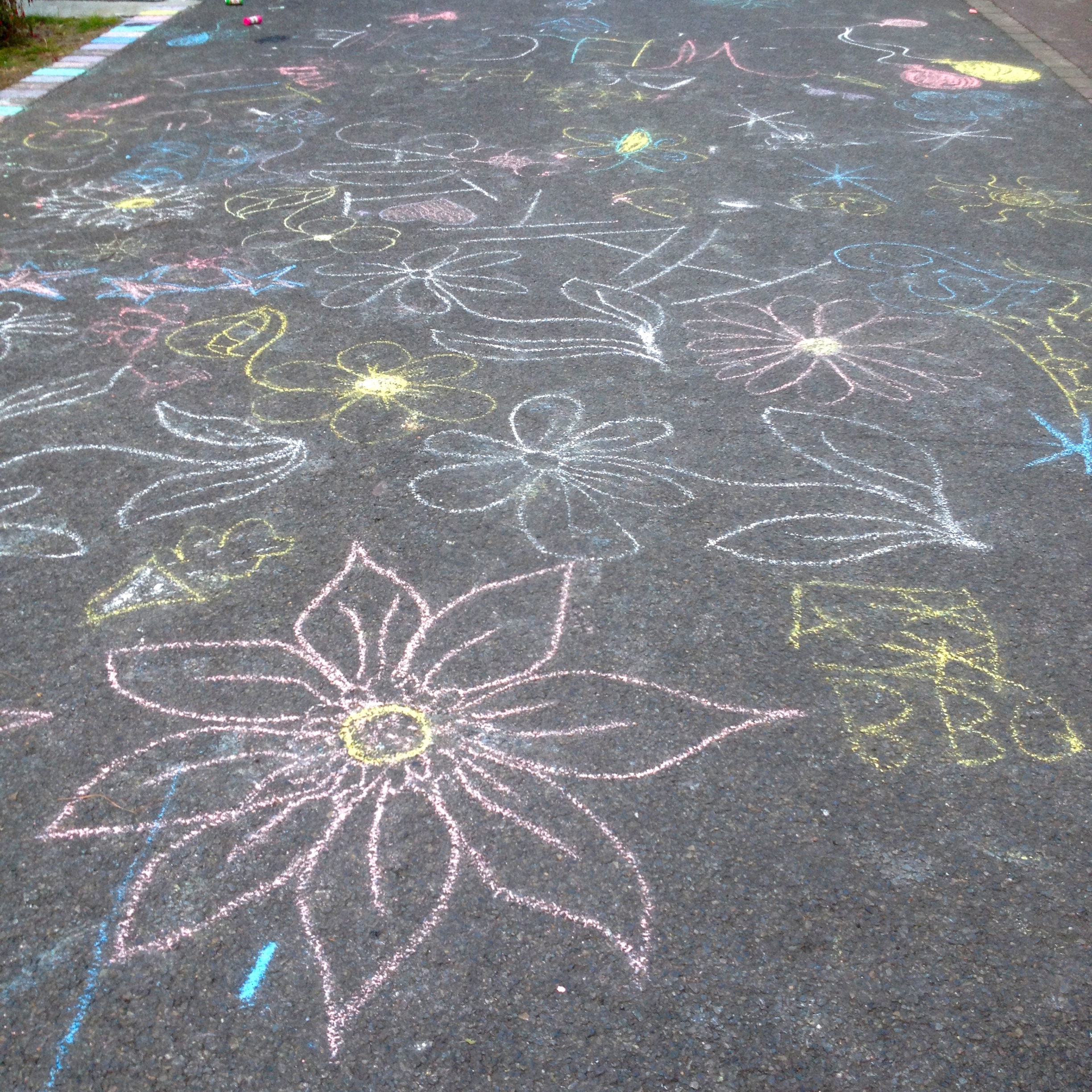 lots of chalking at the BBQ, involving many local kids