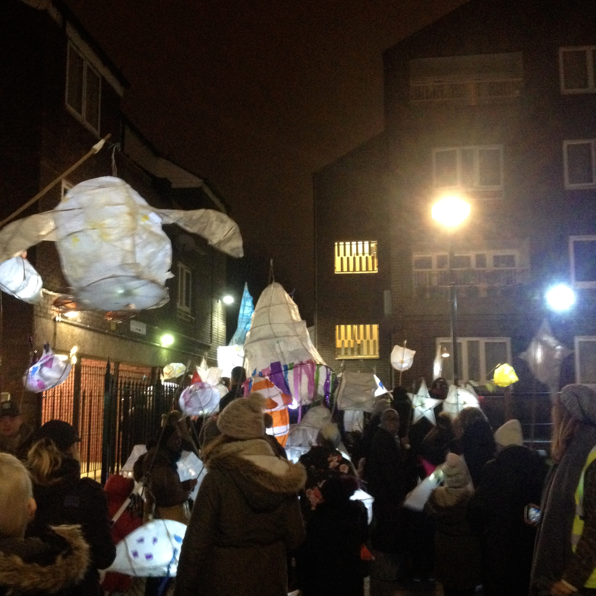 community-made light parade lanterns in action around the estate!