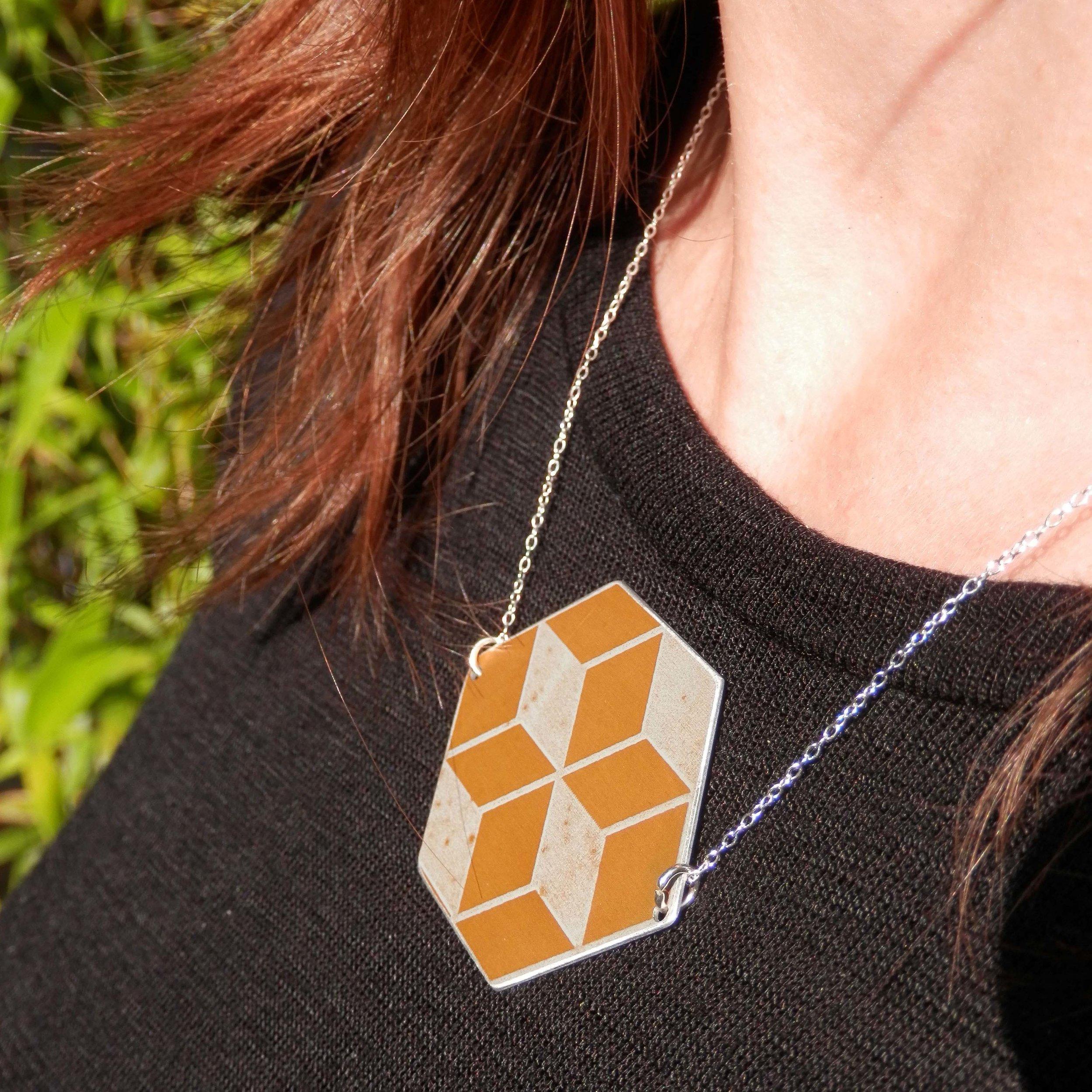 yellow hexagonal neckalce2.jpg