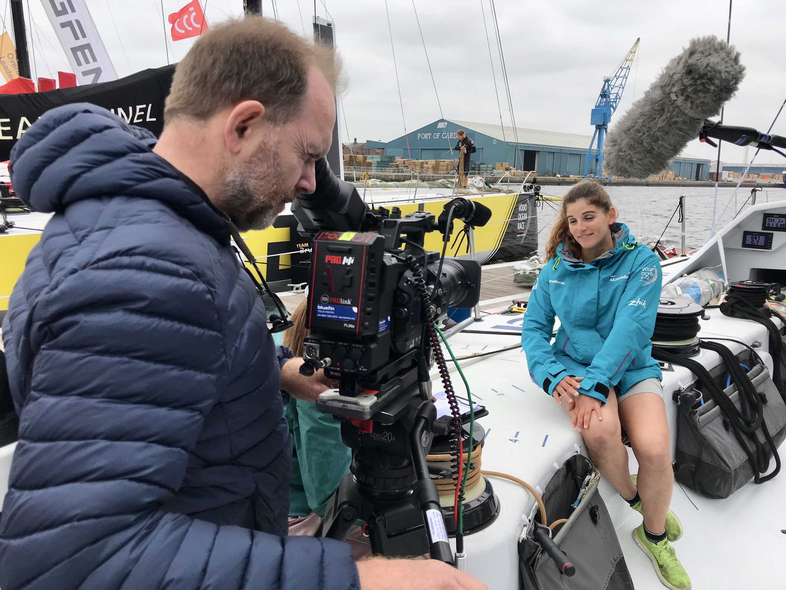 DoP Ant Leake Filming an Interview on board Azko Nobel's Boat - Cardiff 2018 - Ant Leake for Bluefin TV