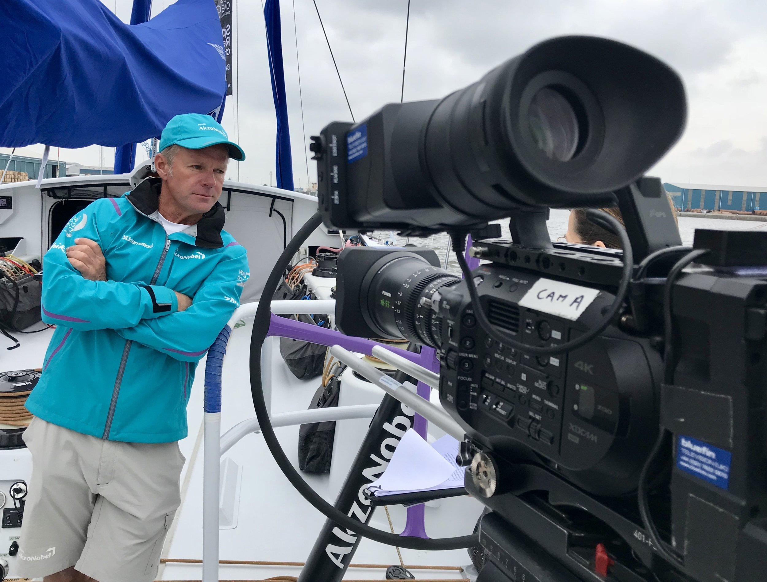 Chris Nicholson Skipper of AzkoNobel's Boat - Cardiff 2018 - Ant Leake for Bluefin TV