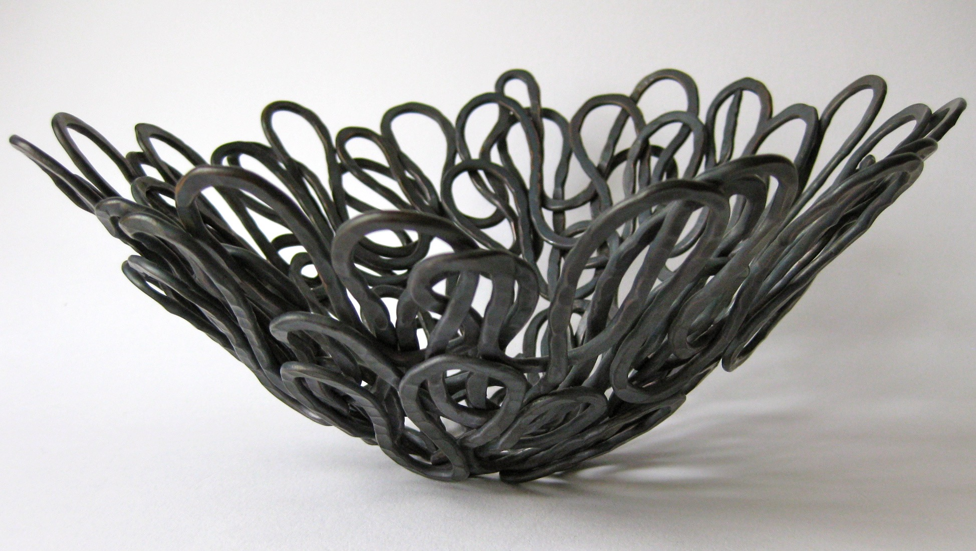 Sculptural Form Woven Basket, 2013, Hand Forged Oxidised Copper
