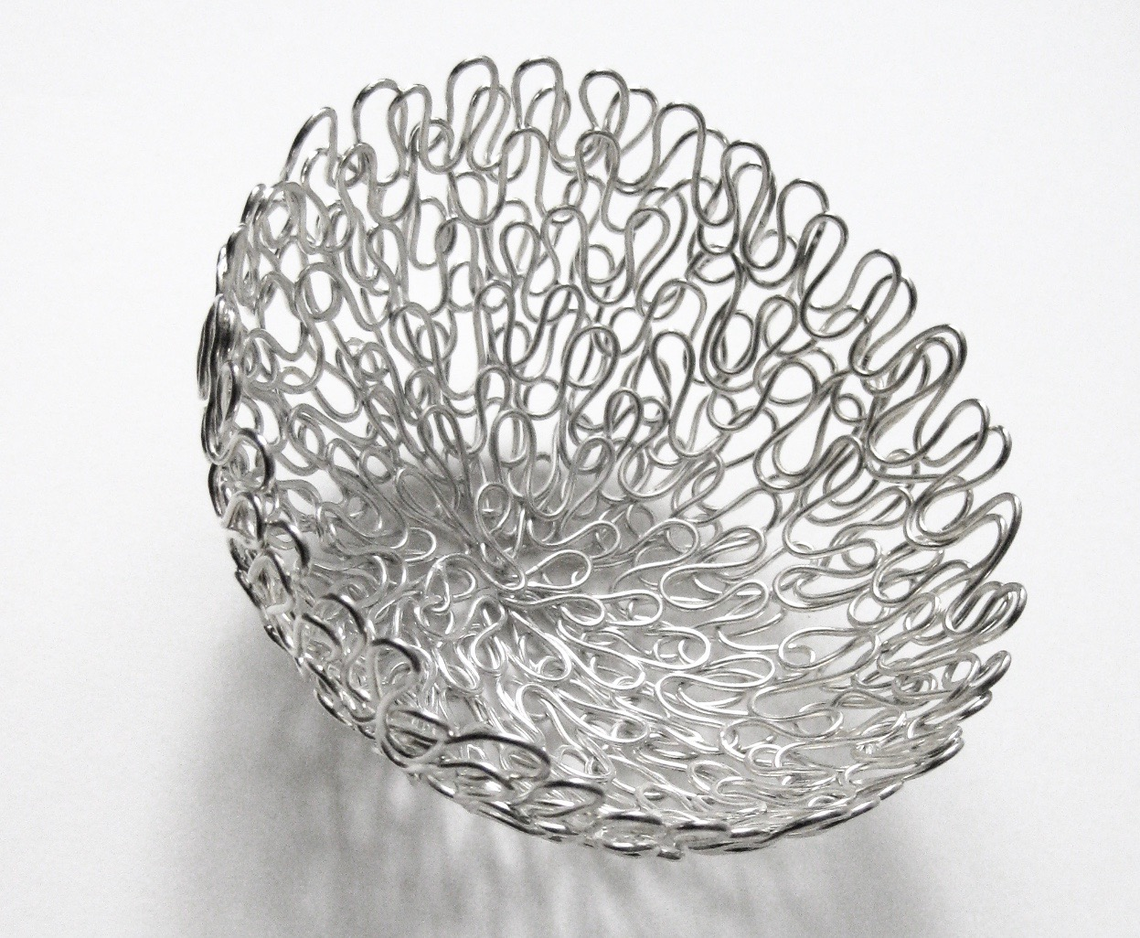 'Full of Life' Woven Round Basket, 2013, Silver Plated Copper