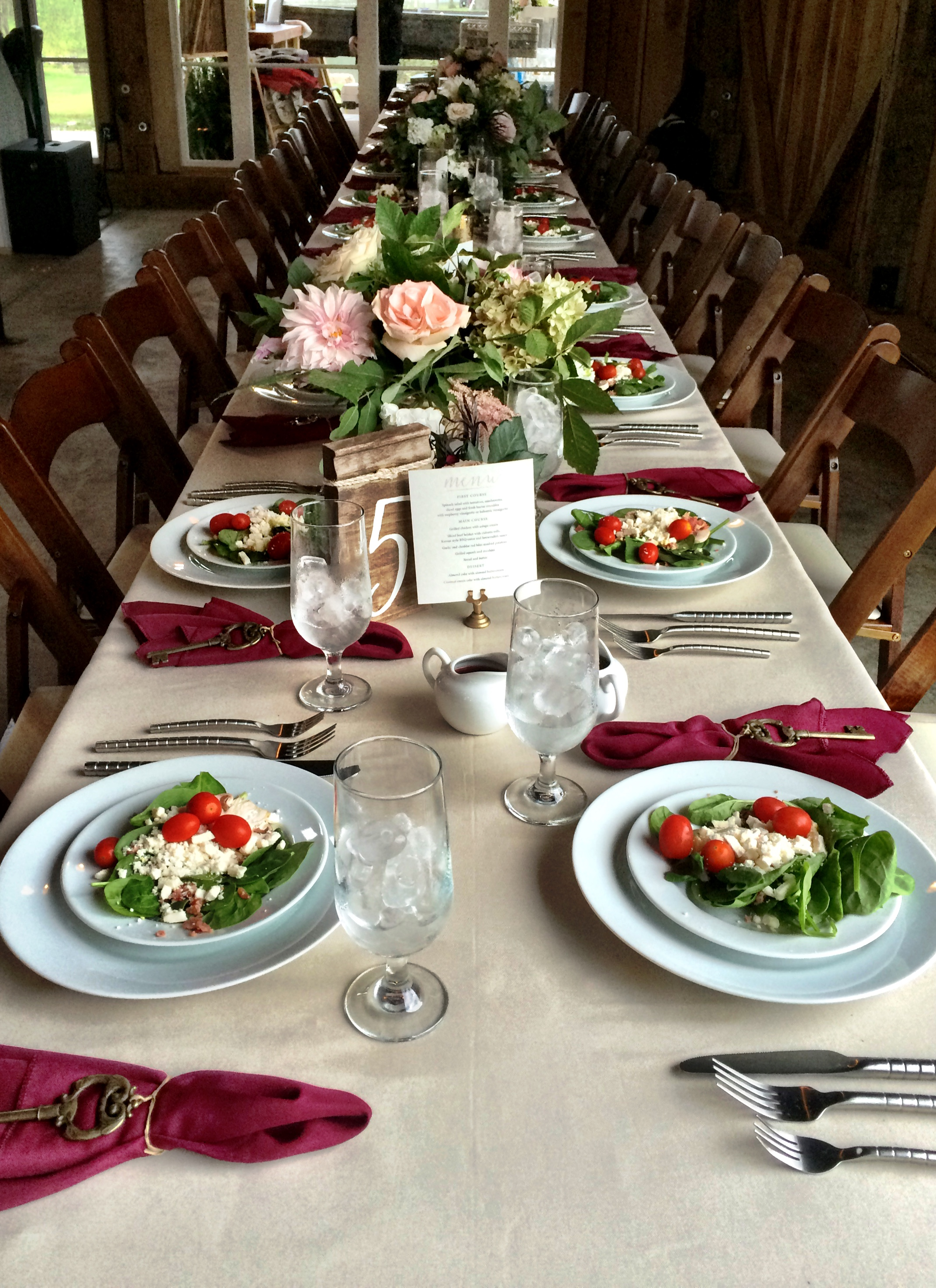 wedding table settings with salad