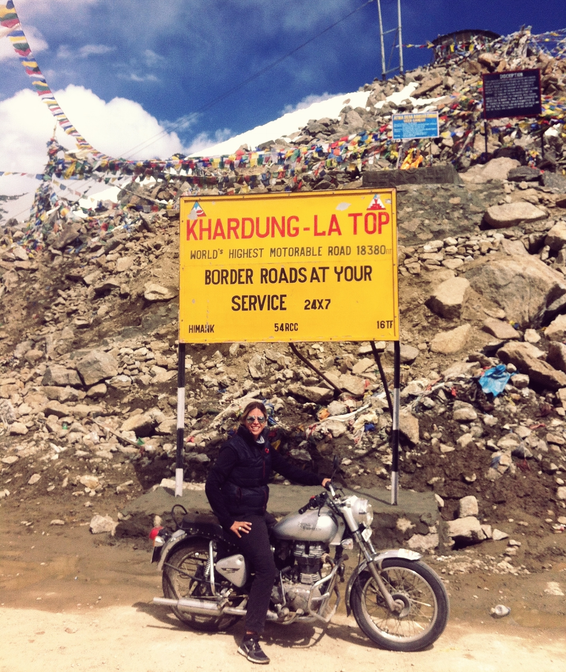 Monique at the top of the highest motorable road in the world - Ladakh, India