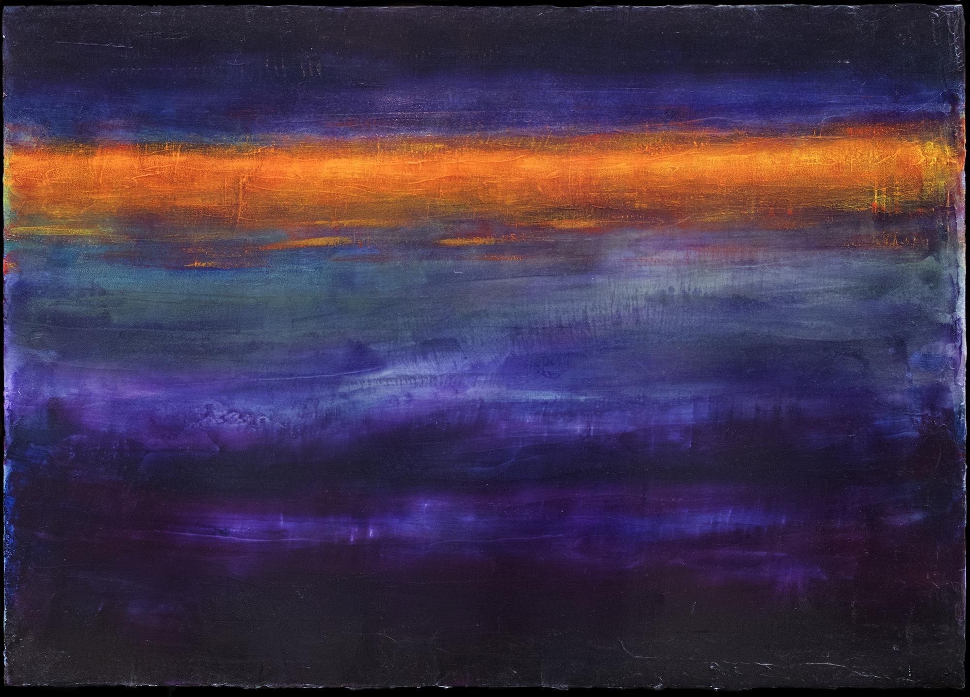 """""""December Sunset (Asilomar Beach)"""" 34"""" x 24"""" Acrylic on canvas"""