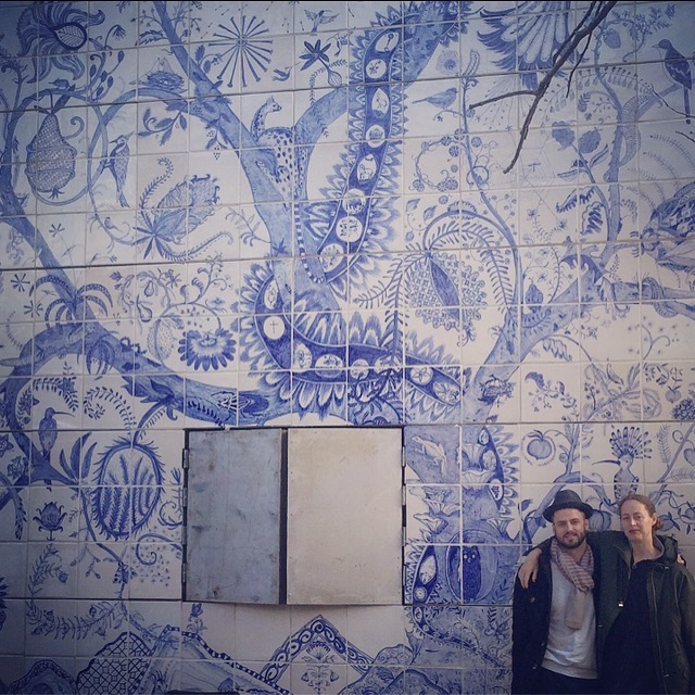 Lucie de Moyencourt and myself during the installation of the mural, 2016