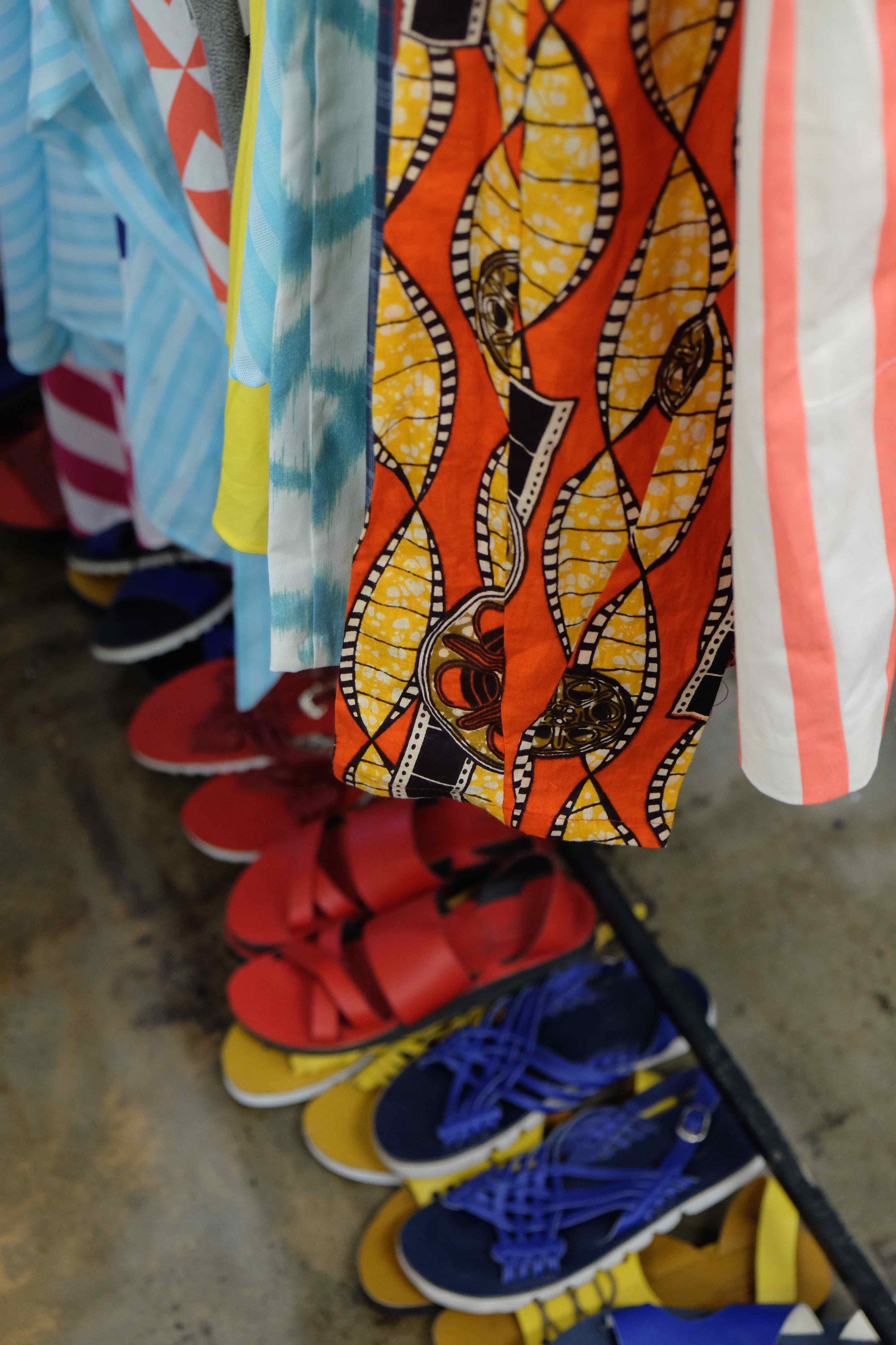 Mzukisi Mbane makes beautiful garments as well as shoes and accessories with a distinct African feeling. You can find him on the ground floor in studio A3 - or on Instagram - @imprint_za