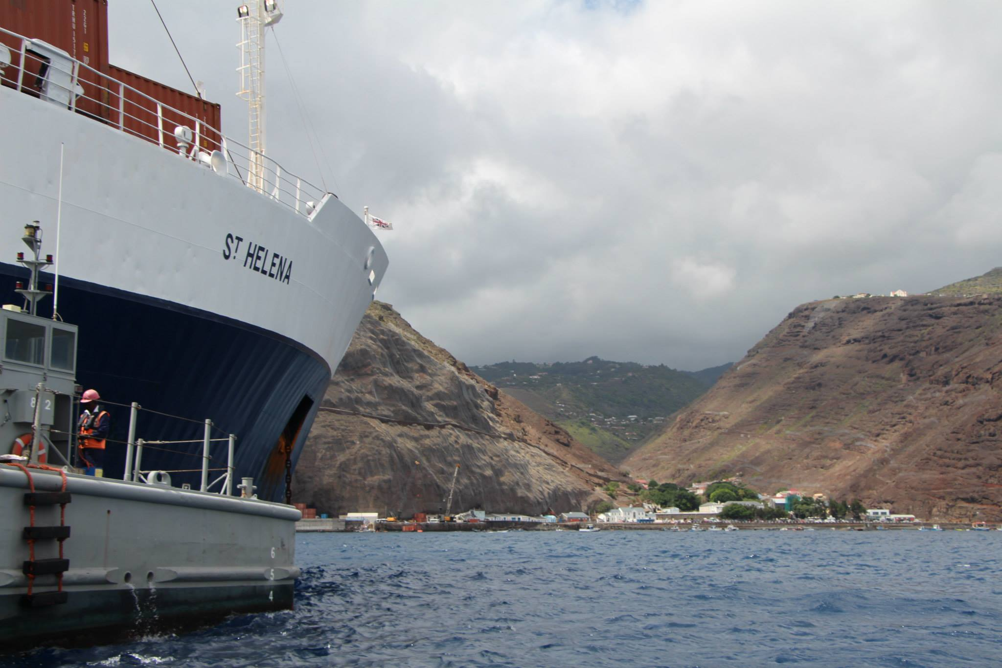 The RMS St Helena looking towards Jamestown, St Helena, April 2015