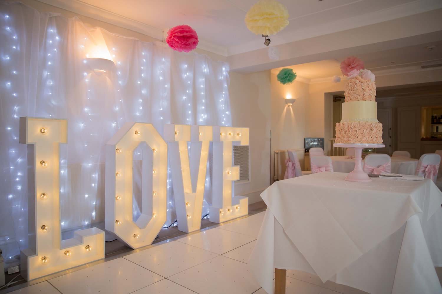 Giant Love Letters - High quality wooden letters with sparkling LED bulbs give a beautiful glow day and night. The perfect addition to your wedding reception!