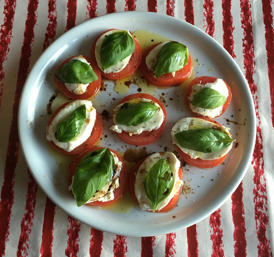 Homemade Caprese salad, ala Lisa T. The ingredients were all purchased from the Lidl across the street.
