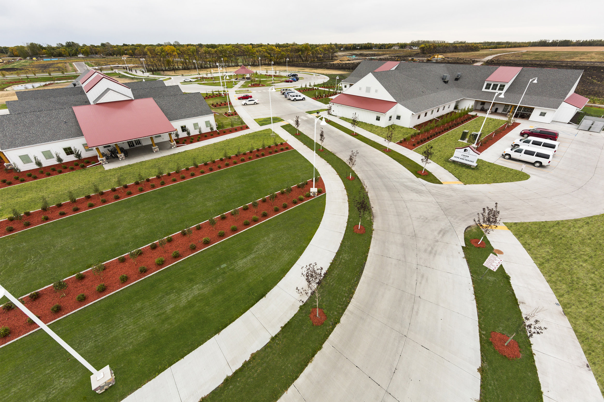 The streets and roundabout at the Boys and Girls Ranch in Fargo were designed for both pedestrians walking on the sidewalk, and the flow of traffic entering the residence.
