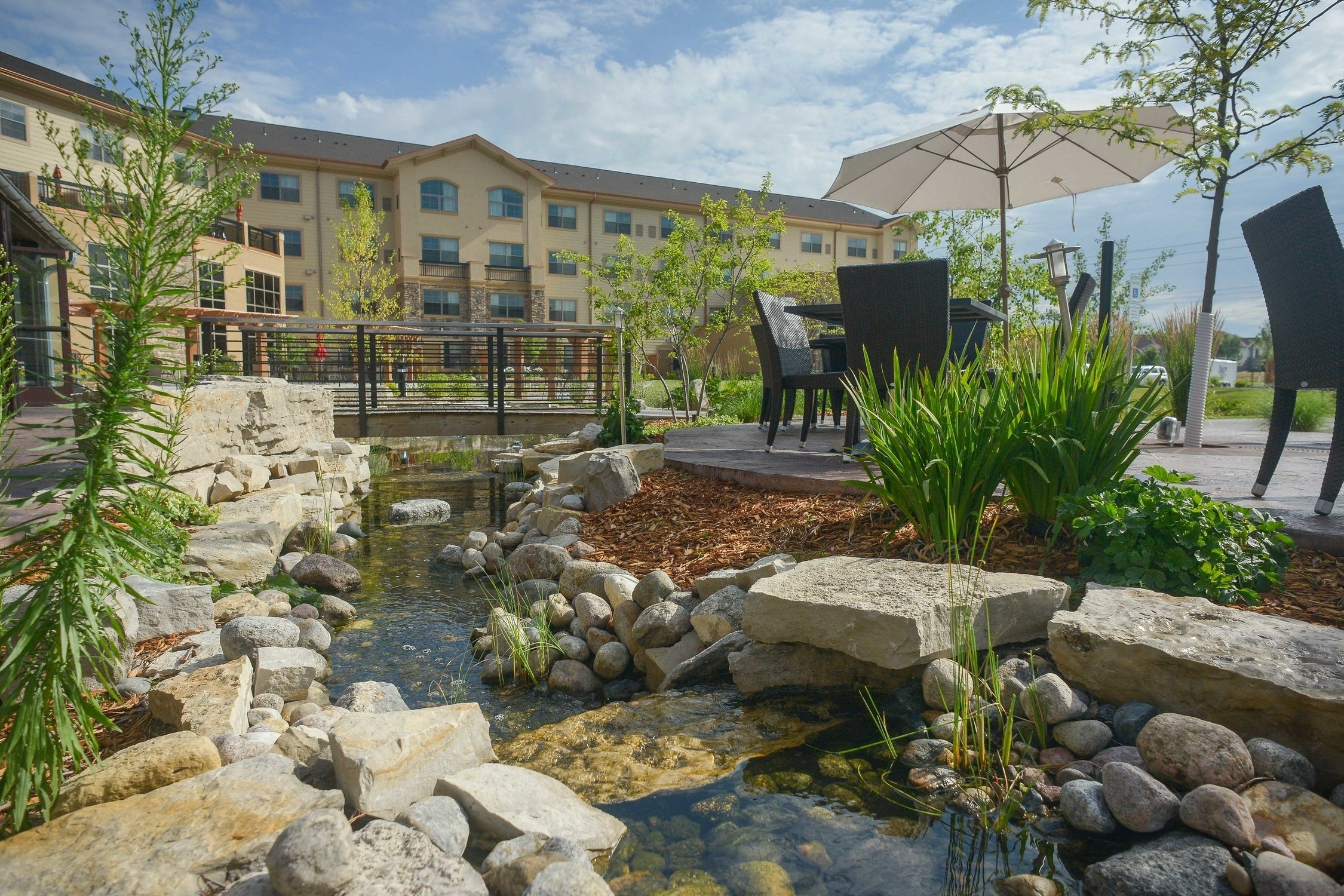 Land Elements designed the back patio seating area and landscape at Porter Creek Hardwood Grill in Fargo.