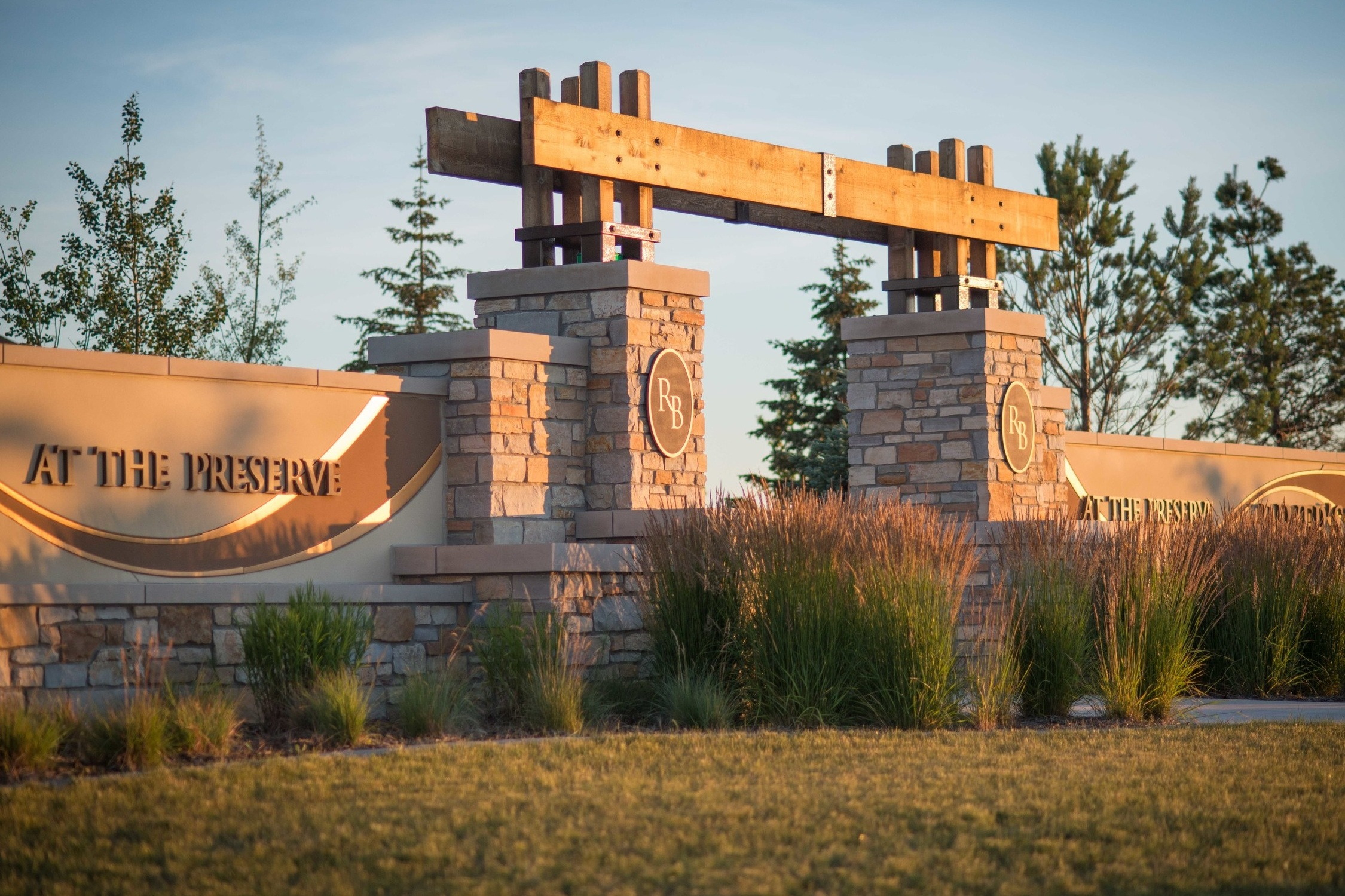 River's Bend at The Preserve is a housing development in Fargo. Land Elements designed this large entrance sign into the property.