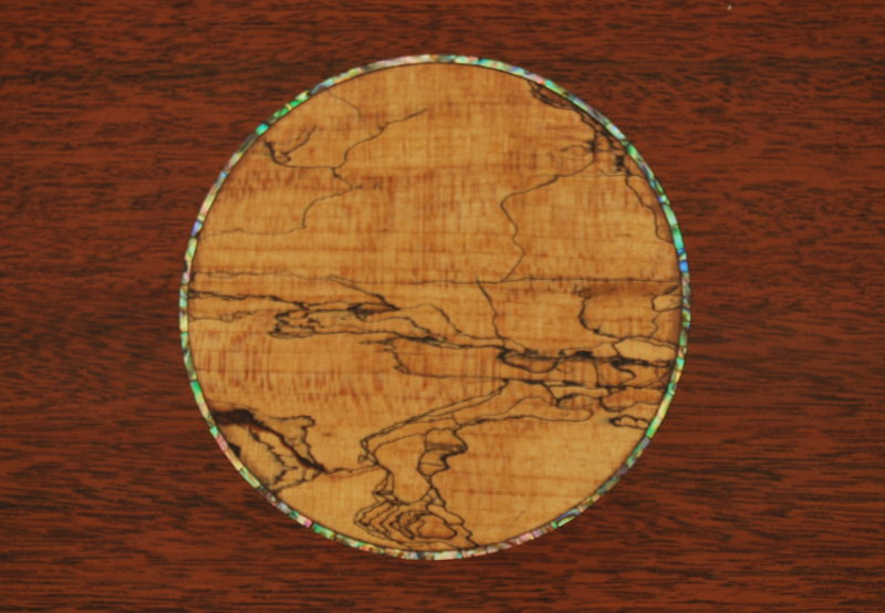 Spalted maple inlay with abalone shell ring