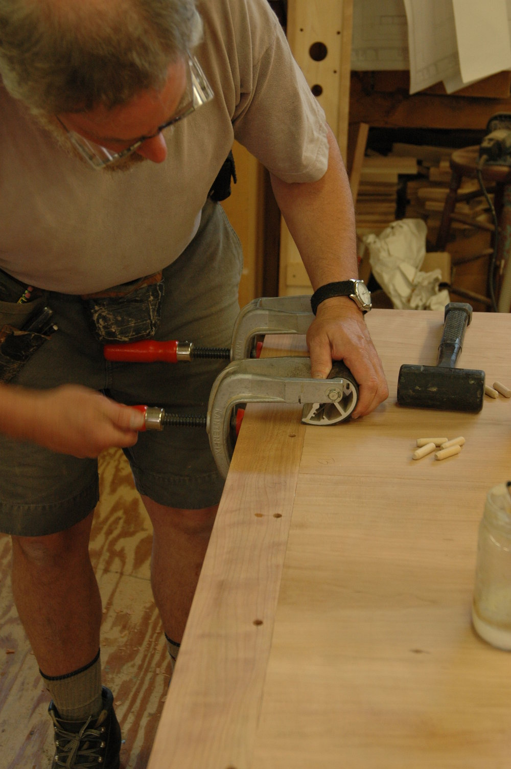 Clamping on an end, ready for pins