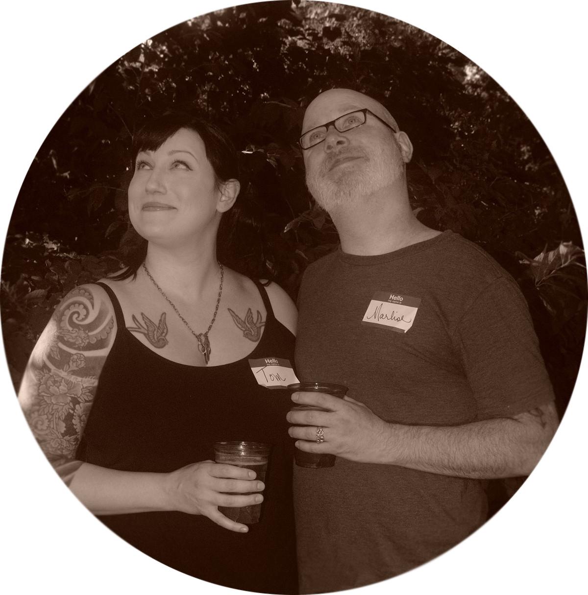 Marlise and Tom B&W picnic pic