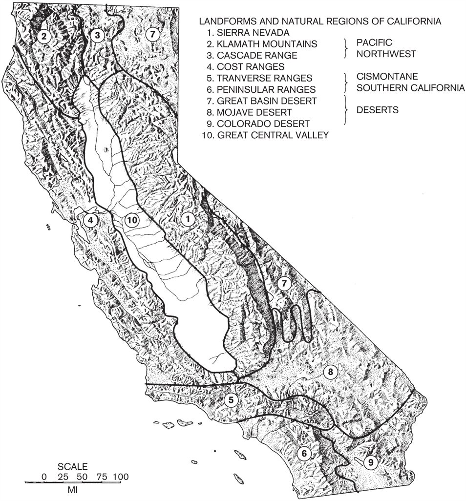 Landforms and Natural Regions of California. Image courtesy of A Natural History of California by Allan A. Schoenherr