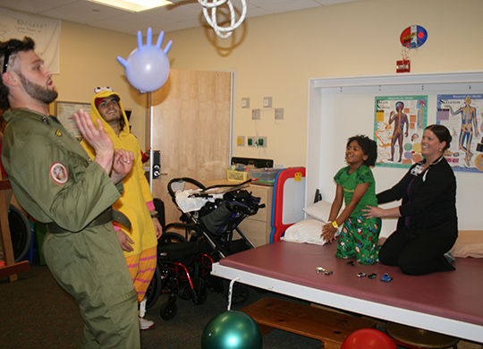 On the Badger Friday visit before Halloween weekend, UW football players Vince Biegel and Leo Musso spent part of their pregame ritual dressing up and playing games with patients at the children's hospital