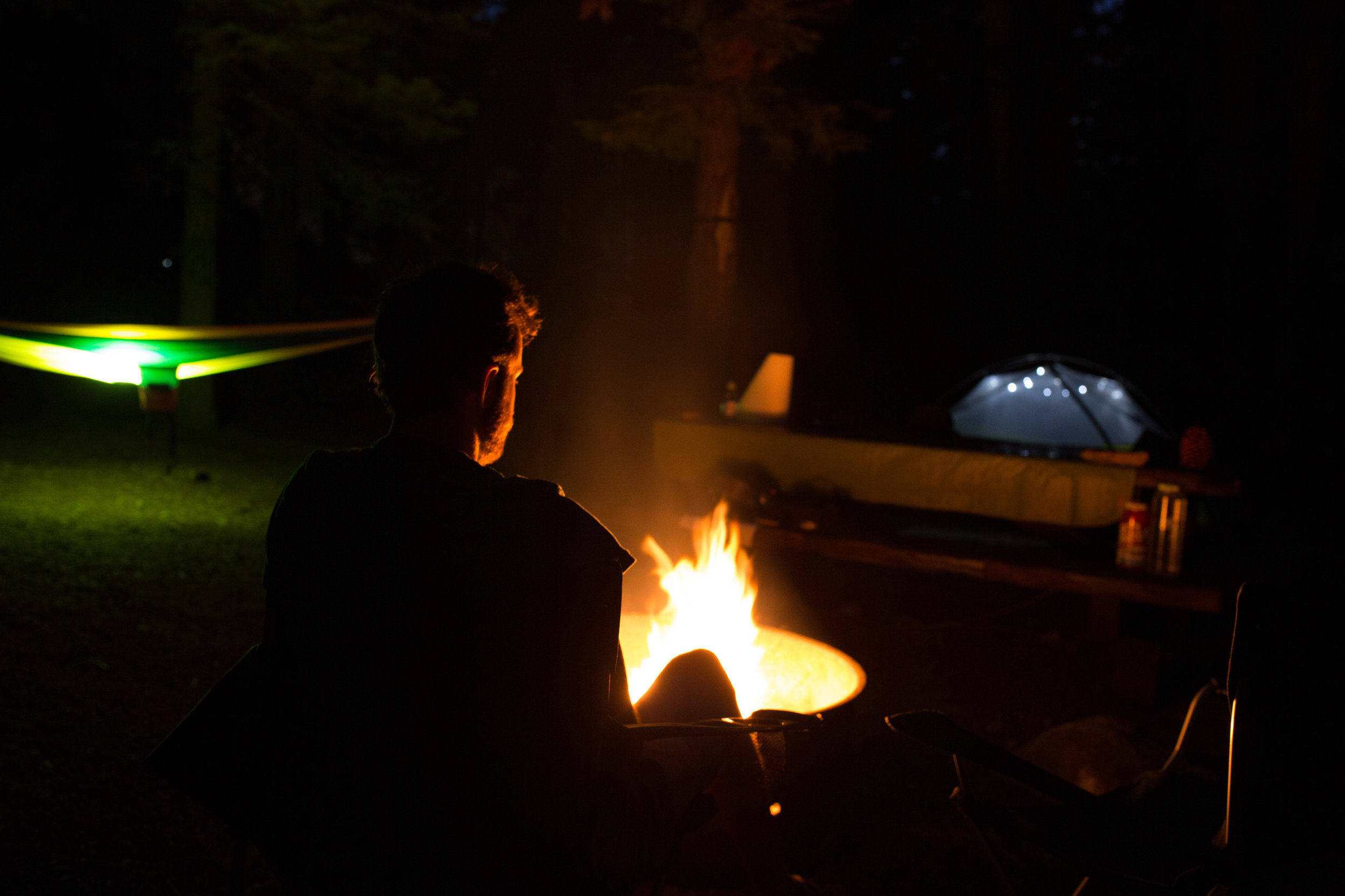 Camping at a campground around Lake Tahoe's perimeter.