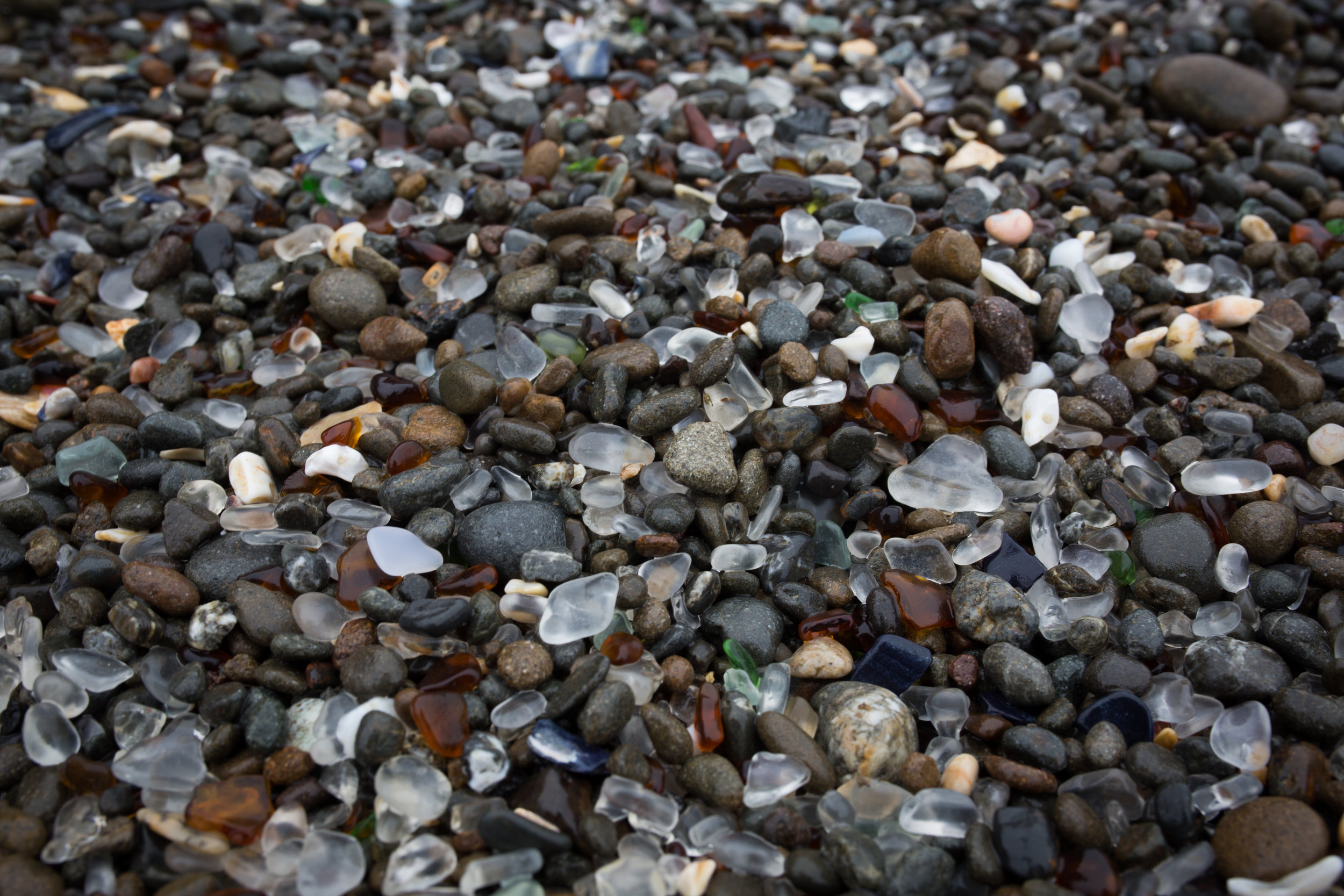 Glass Beach is made up mainly of seaglass pebbles