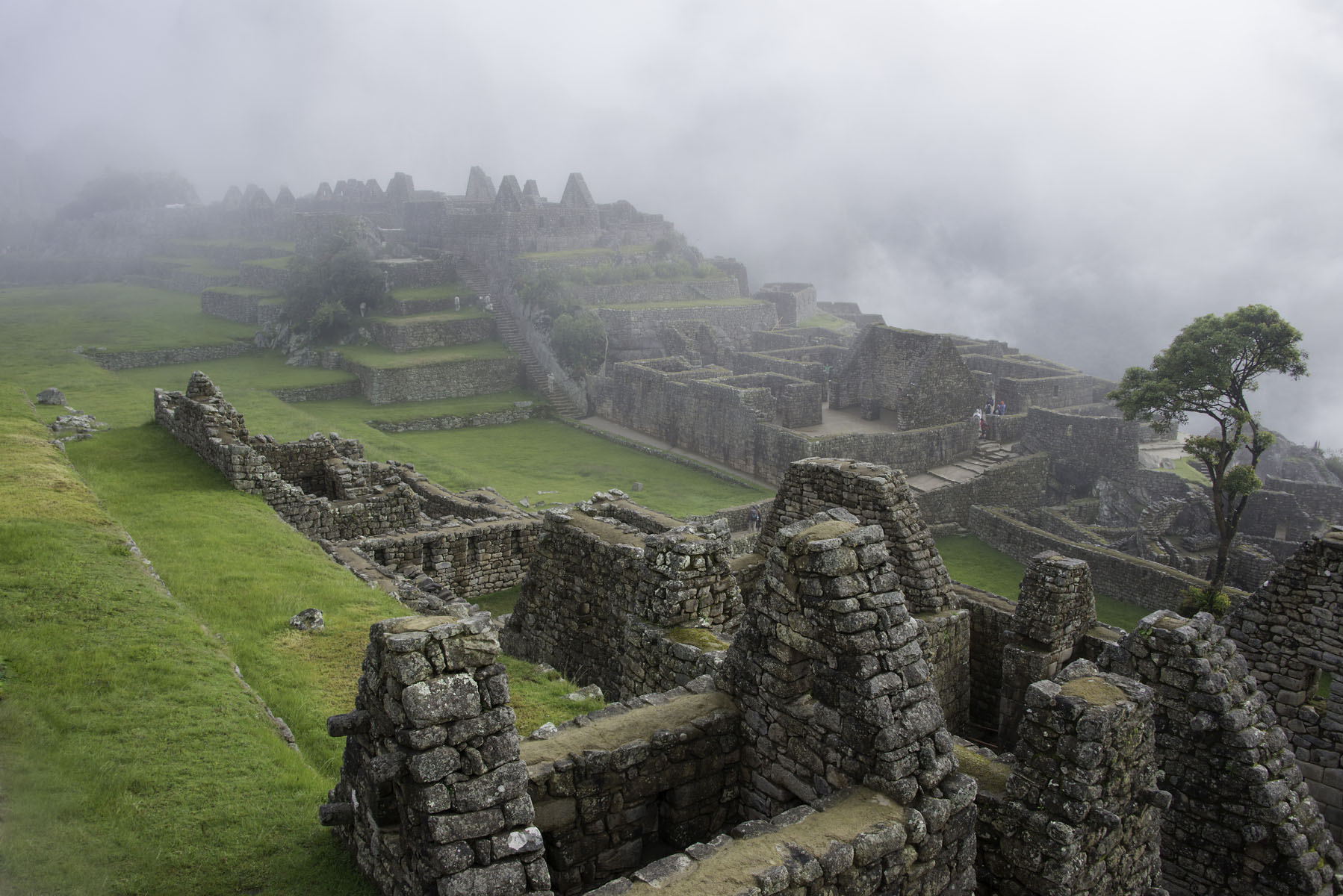 Overview of Machu Picchu City in Fog