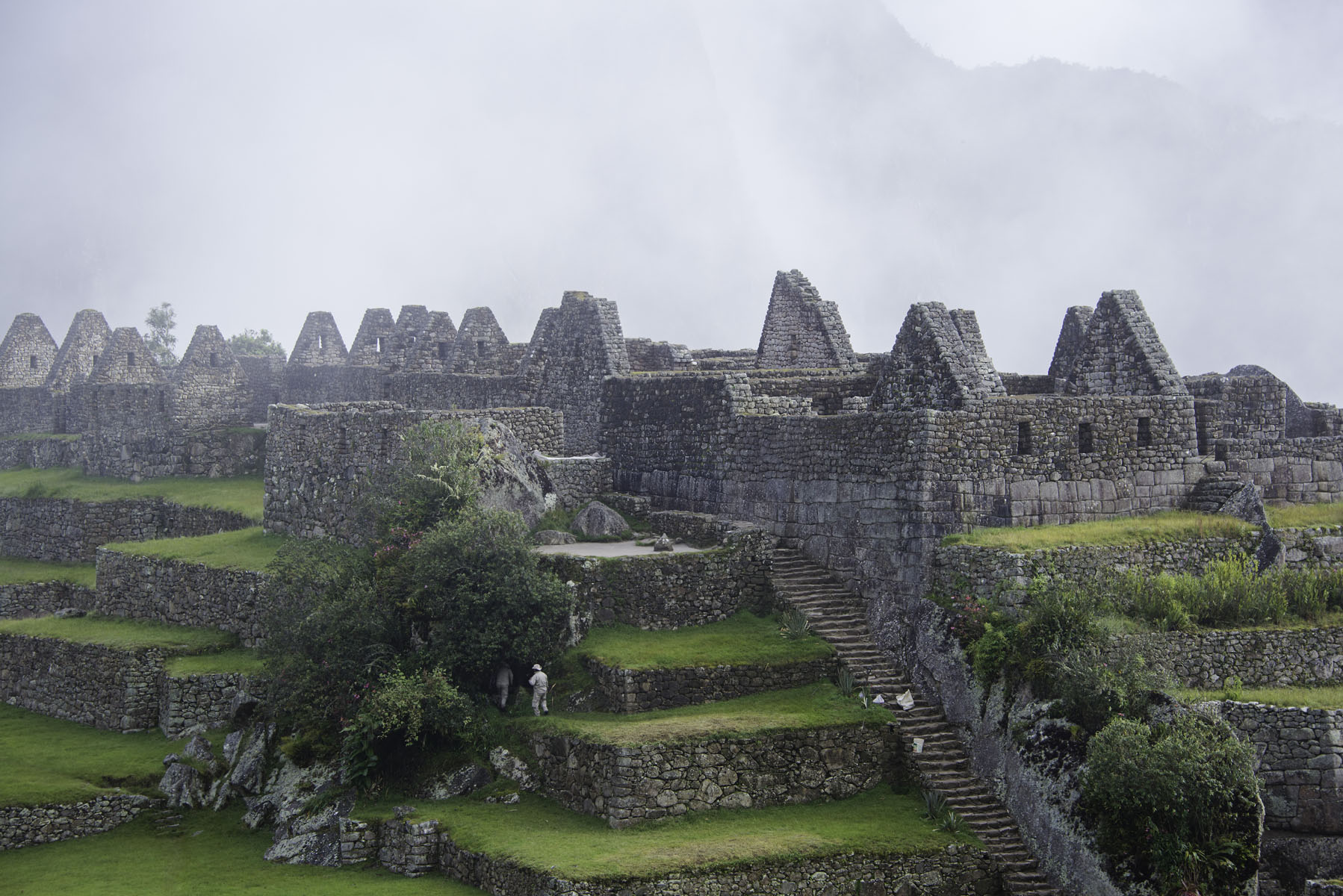 Machu Picchu Buildings in the Fog