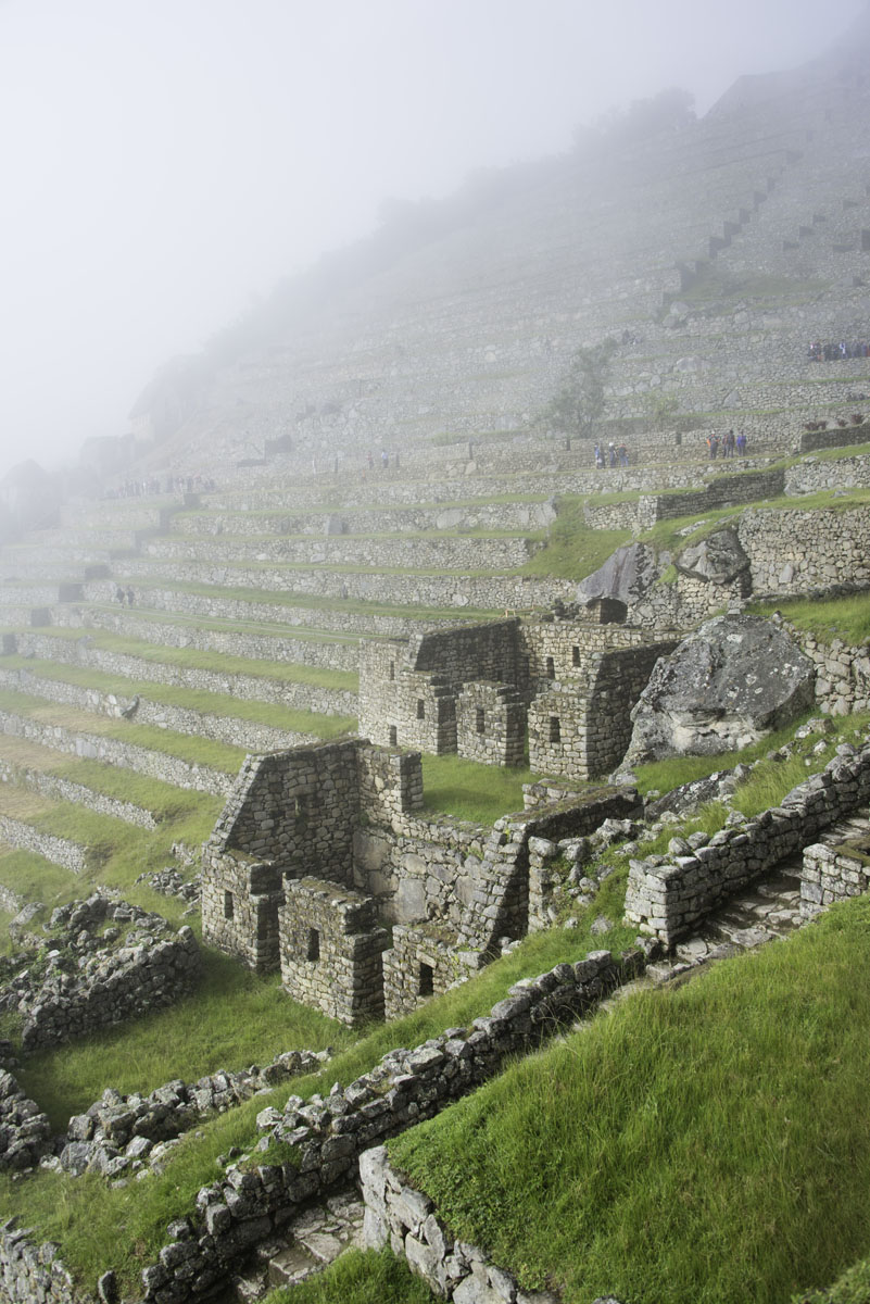 Stairs and buildings on a hillside at Machu Picchu