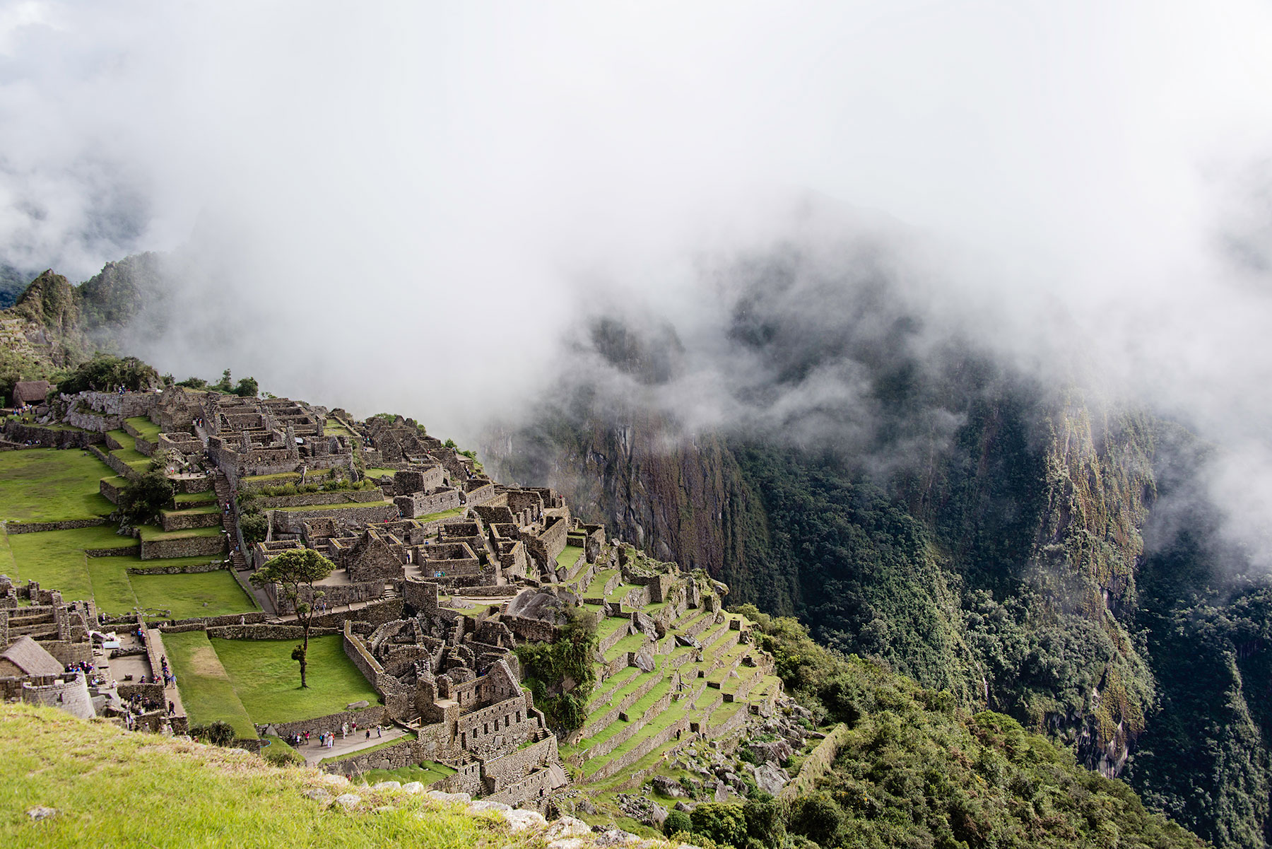 Overview of Machu Picchu city in the clouds
