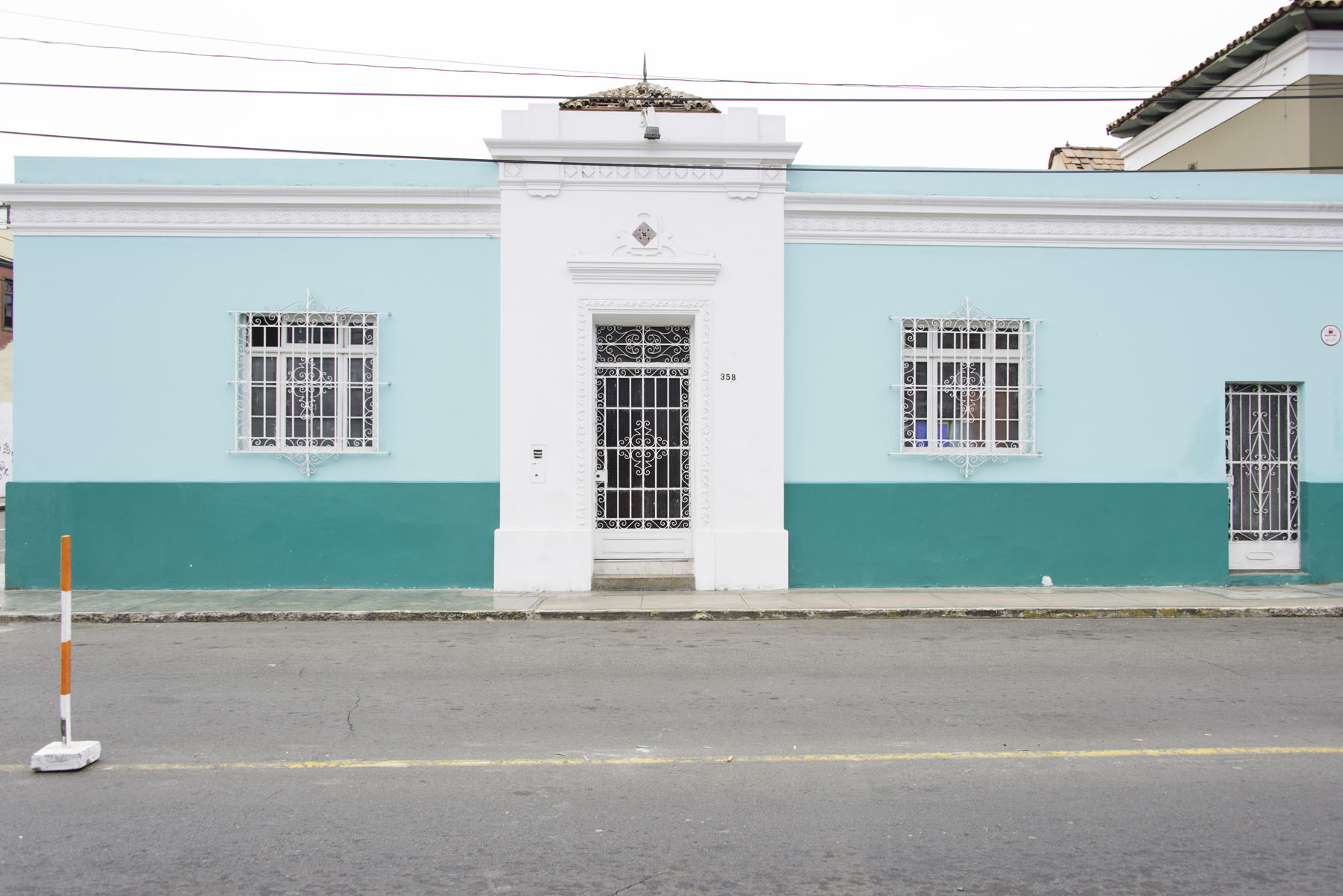 Colorful Turquoise Building in Barranco Lima Peru