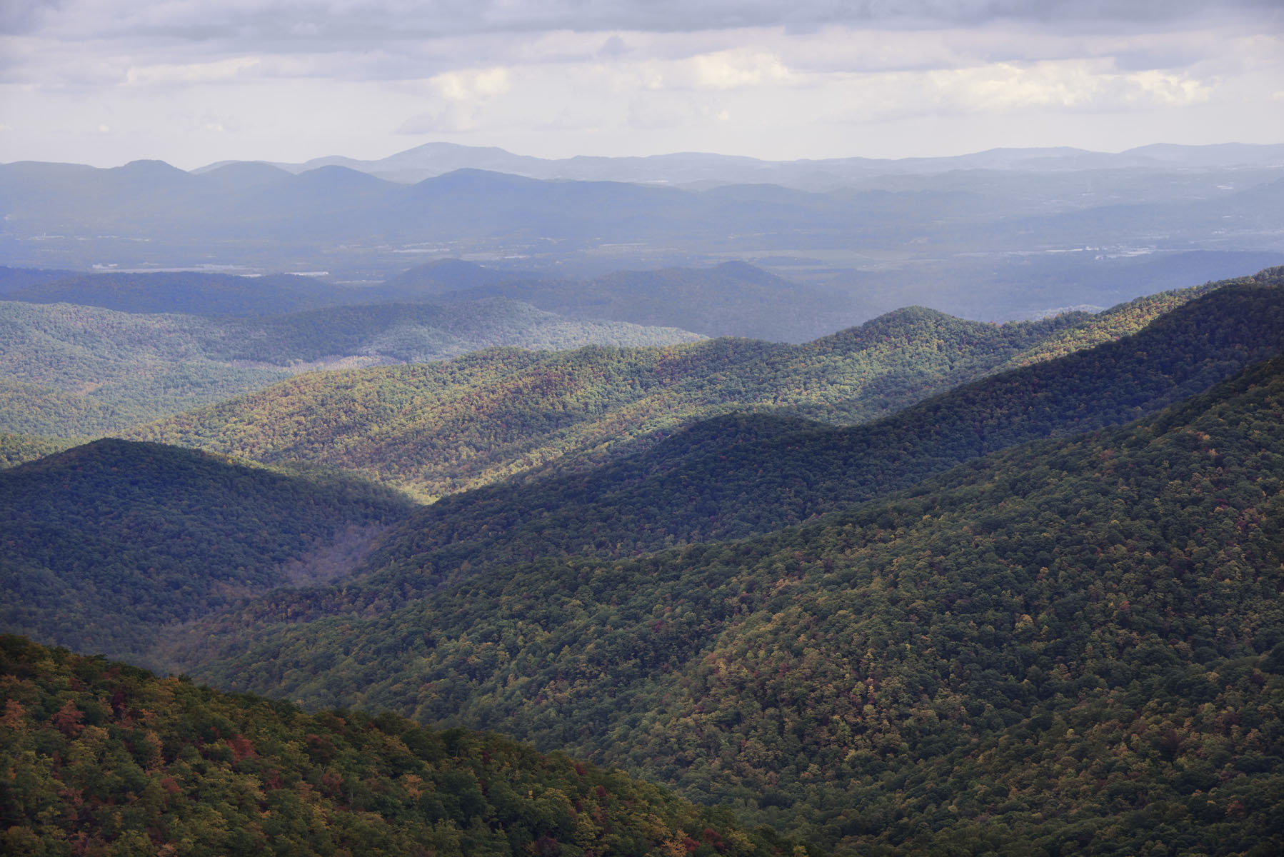 Overview of Fall Foliage in Smoky Mountains on Blue Ridge Parkway