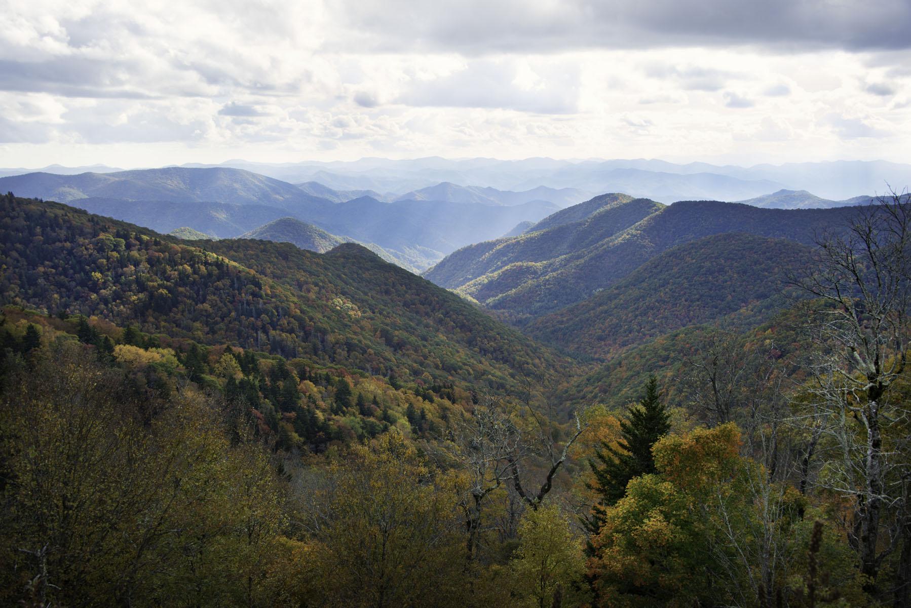 Smoky Mountain Landscape on Blue Ridge Parkway Near Asheville