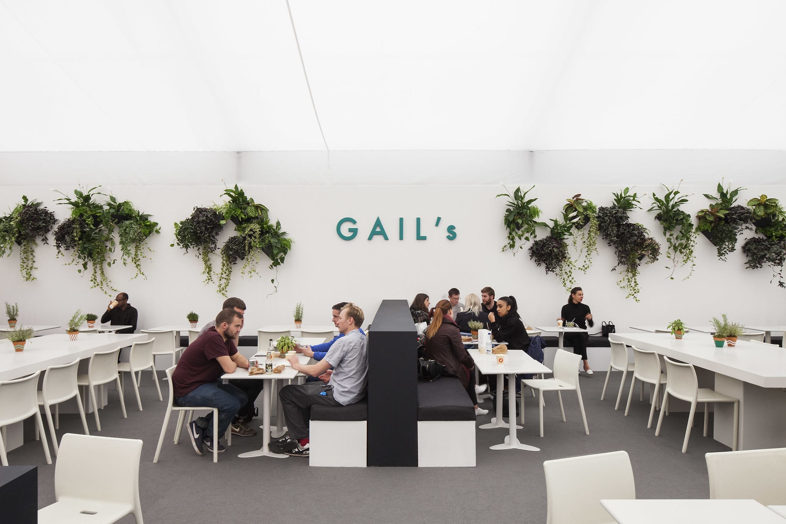 Banquettes & flowerpots for GAIL'S Artisan Bakery, at Frieze Art Fair, 2015