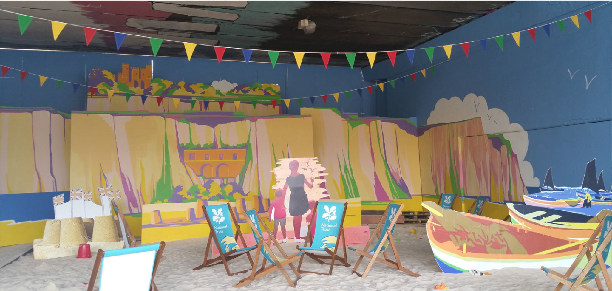 Urban beach for National Trust, at InTransit festival, under Westway London, 2015
