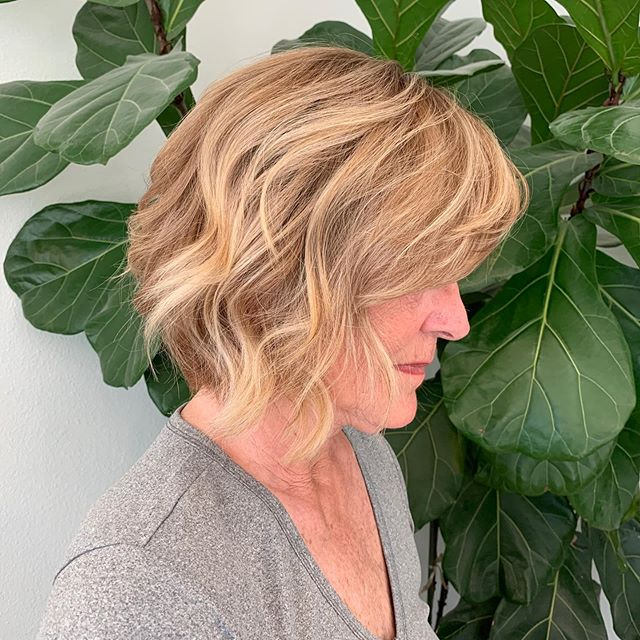 Proof that you can have amazing hair at any age! Beautiful color and textured bob cut by stylist @thewisestylist