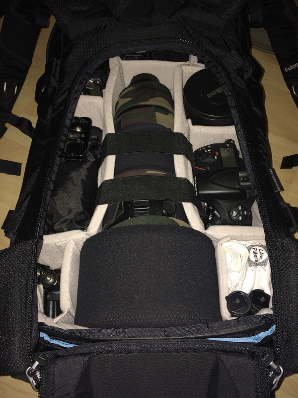 View of the photographic gear inside the ICU, inside the Tilopa BC bag.